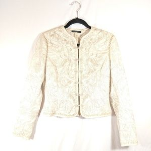 Elie Tahari cream embroidered jacket 💯 cotton SP